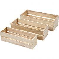 Cajas de madera, A: 6,5+7+7,5 cm, L. 22+23,5+25 cm, A: 7+8,5+10 cm, 3 ud/ 1 set
