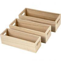 Cajas de madera, A: 6,5-7,5 cm, L. 22+23,5+25 cm, A: 6,5+7,5+8,5 cm, 3 ud/ 1 set