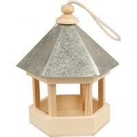 Casita para pájaros con tejado de zinc, medidas 22x18x16,5 cm, 1 ud