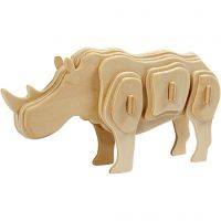 Kit de construcción 3D de madera, Rinoceronte, medidas 16x4x8 cm, 1 ud