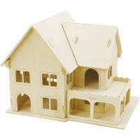 Figura de construcción 3D, Casa con porche, medidas 22,5x16x17,5 , 1 ud