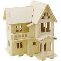 Figura de construcción 3D, casa con balcón, medidas 15,8x17,5x19,5 , 1 ud