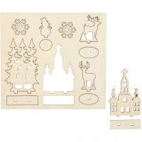Figuras de madera, Iglesia, árboles de Navidad, reno, L. 15,5 cm, A: 17 cm, 1 paquete