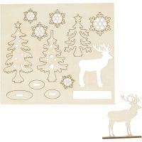 Figuras de madera, Bosque con ciervos, L. 15,5 cm, A: 17 cm, 1 paquete