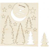 Figuras de madera, Árboles de Navidad, L. 20 cm, A: 17 cm, 1 paquete