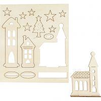 Figuras de madera, Ciudad navideña, L. 20 cm, A: 17 cm, 1 paquete