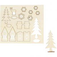Figuras de madera, Casa, árbol y ciervo, L. 15,5 cm, A: 17 cm, 1 paquete