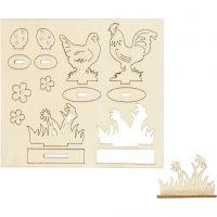Figuras de madera, Gallinas y flores, L. 15,5 cm, A: 17 cm, 1 paquete