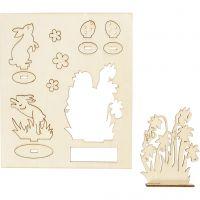 Figuras de madera, Liebres y flores, L. 20 cm, A: 17 cm, 1 paquete