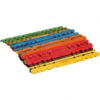 Palos de construcción, L. 11,4 cm, A: 10 mm, surtido de colores, 30 ud/ 1 paquete