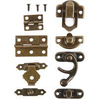 Mini accesorios, medidas 16x19-19x29,5 mm, oro antiguo, 15 set/ 1 paquete