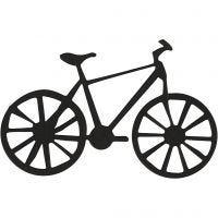 Emblema de cartón, bicicleta, medidas 77x48 mm, negro, 10 ud/ 1 paquete