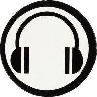 Emblema de cartón, dia: 25 mm, blanco/negro, 20 ud/ 1 paquete