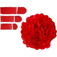 Pompones de seda, dia: 20+24+30 cm, 16 gr, rojo, 3 ud/ 1 paquete