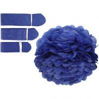Pompones de seda, dia: 20+24+30 cm, 16 gr, azul oscuro, 3 ud/ 1 paquete