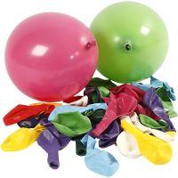 Globos, redondos, dia: 23 cm, surtido de colores, 100 ud/ 1 paquete
