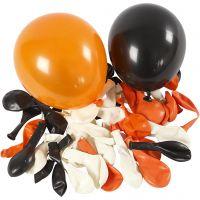 Globos, Redondo, dia: 23-26 cm, negro, naranja, blanco, 100 ud/ 1 paquete