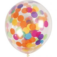 Globos con confeti, redondo, dia: 23 cm, transparente, 4 ud/ 1 paquete