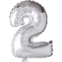 Globo foil, número 2, A: 41 cm, plata, 1 ud