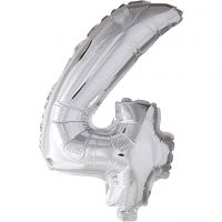 Globo foil, número 4, A: 41 cm, plata, 1 ud