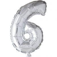 Globo foil, número 6, A: 41 cm, plata, 1 ud