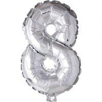 Globo foil, número 8, A: 41 cm, plata, 1 ud