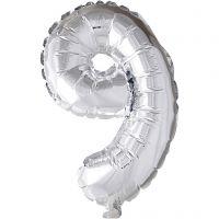 Globo foil, número 9, A: 41 cm, plata, 1 ud