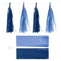 Borla de papel, medidas 12x35 cm, 14 gr, azul oscuro/claro, 12 ud/ 1 paquete