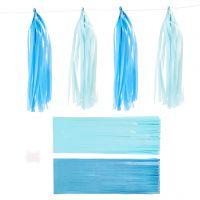 Borla de papel, medidas 12x35 cm, 14 gr, azul, azul claro, 12 ud/ 1 paquete