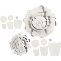 Flores de papel, dia: 15+25 cm, 230 gr, blanco, 2 ud/ 1 paquete