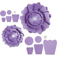 Flores de papel, dia: 15+25 cm, 230 gr, morado, 2 ud/ 1 paquete