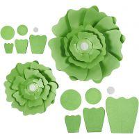 Flores de papel, dia: 15+25 cm, 230 gr, verde, 2 ud/ 1 paquete