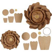 Flores de papel, dia: 15+25 cm, natural, 2 ud/ 1 paquete