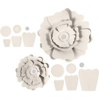 Flores de papel, dia: 15+25 cm, 230 gr, blanquecino, 2 ud/ 1 paquete