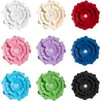 Flores de papel, surtido de colores, 9x10 paquete/ 1 paquete