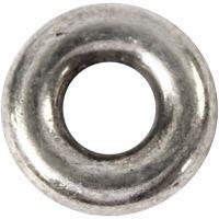 Pieza espaciadora, dia: 9 mm, medida agujero 4 mm, plata antigua, 15 ud/ 1 paquete