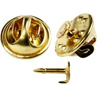 Agujas de broche, dia: 11,5 mm, dorado/plateado, 25 ud/ 1 paquete