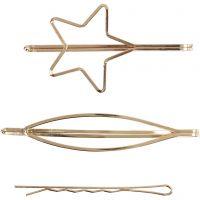 Clips de pelo, L. 70 mm, A: 32 mm, dorado/plateado, 3 ud/ 1 paquete