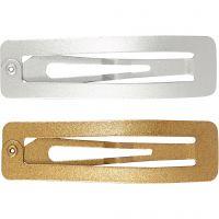 Clip de pelo, L. 58 mm, A: 16 mm, dorado, plata, 4 ud/ 1 paquete