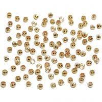 Abalorios ondulados, dia: 2 mm, dorado/plateado, 100 ud/ 1 paquete