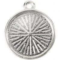 Medallón, dia: 16 mm, medida agujero 1,5 mm, metal, 4 ud/ 1 paquete