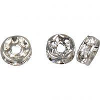 Rondellas de joyería, dia: 6 mm, medida agujero 1,2 mm, plateado, 50 ud/ 1 paquete