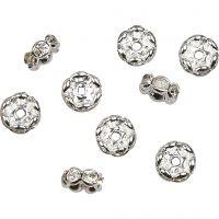 Rondellas de joyería, dia: 8 mm, medida agujero 2 mm, plateado, 5 ud/ 1 paquete