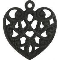 Corazón, medidas 13x14 mm, medida agujero 1 mm, negro, 4 ud/ 1 paquete