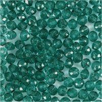 Perlas facetadas, dia: 4 mm, medida agujero 1 mm, verde, 45 ud/ 1 hebra