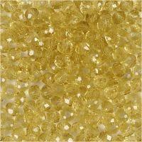 Perlas facetadas, dia: 4 mm, medida agujero 1 mm, amarillo, 45 ud/ 1 hebra