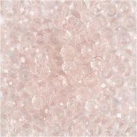 Perlas facetadas, dia: 4 mm, medida agujero 1 mm, rosa claro, 45 ud/ 1 hebra