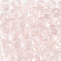 Cuentas de vidrio, dia: 4 mm, medida agujero 1 mm, rosa claro, 45 ud/ 1 hebra