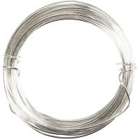 Alambre de plata, grosor 0,4 mm, plateado, 20 m/ 1 rollo