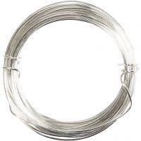 Alambre de plata, grosor 0,6 mm, plateado, 10 m/ 1 rollo